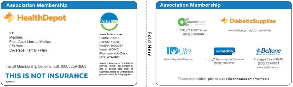 Apex Limited Medical Association card